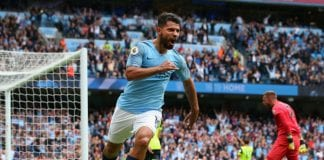 MANCHESTER, ENGLAND - AUGUST 19: Sergio Aguero of Manchester City celebrates after scoring his team's third goal during the Premier League match between Manchester City and Huddersfield Town at Etihad Stadium on August 19, 2018 in Manchester, United Kingdom. (Photo by Alex Livesey/Getty Images)