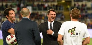 ROME, ITALY - SEPTEMBER 01: Gianluigi Buffon and Paolo Maldini before Interreligious Match for Peace at Olimpico Stadium on September 1, 2014 in Rome, Italy. (Photo by Giuseppe Bellini/Getty Images)