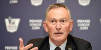 LONDON, ENGLAND - FEBRUARY 10: Chief Executive of Premier League Richard Scudamore speaks to the media during the Premier League Media Event on February 10, 2015 in London, England. (Photo by Tom Dulat/Getty Images for Premier League)