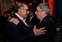 WASHINGTON, DC - OCTOBER 28: IOC member Alisher Usmanov (L) greets IOC President Thomas Bach at the USOC Welcome reception at the National Building Museum ahead of the XX ANOC General Assembly 2015 on October 28, 2015 in Washington, DC. (Photo by Larry French/Getty Images for ANOC)