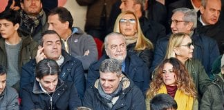 NAPLES, ITALY - DECEMBER 18: Aurelio De Laurentiis the President of SSC Napoli, Luigi De Magistris mayor of Naples looks on prior to the Serie A match between SSC Napoli and FC Torino at Stadio San Paolo on December 18, 2016 in Naples, Italy. (Photo by Francesco Pecoraro/Getty Images)
