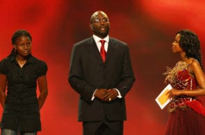 DURBAN, SOUTH AFRICA - NOVEMBER 25: Liberia soccer legend George Weah speaks during the 2010 FIFA World Cup Preliminary Draw at the ICC convention centre on November 25, 2007 in Durban, South Africa. (Photo by Shaun Botterill/Getty Images)