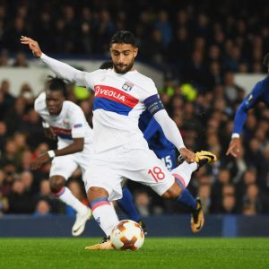 LIVERPOOL, ENGLAND - OCTOBER 19: Nabil Fekir of Lyon (18) scores their first goal from the penalty spot during the UEFA Europa League Group E match between Everton FC and Olympique Lyon at Goodison Park on October 19, 2017 in Liverpool, United Kingdom. (Photo by Ross Kinnaird/Getty Images)