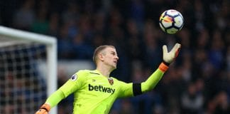 LONDON, ENGLAND - APRIL 08: Joe Hart of West Ham United during the Premier League match between Chelsea and West Ham United at Stamford Bridge on April 8, 2018 in London, England. (Photo by Catherine Ivill/Getty Images)
