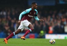 LONDON, ENGLAND - APRIL 08: Edimilson Fernandes of West Ham United during the Premier League match between Chelsea and West Ham United at Stamford Bridge on April 8, 2018 in London, England. (Photo by Catherine Ivill/Getty Images)