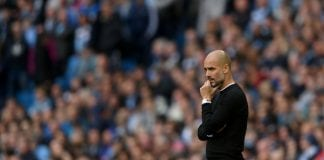 MANCHESTER, ENGLAND - APRIL 22: Josep Guardiola, Manager of Manchester City reacts during the Premier League match between Manchester City and Swansea City at Etihad Stadium on April 22, 2018 in Manchester, England. (Photo by Laurence Griffiths/Getty Images)