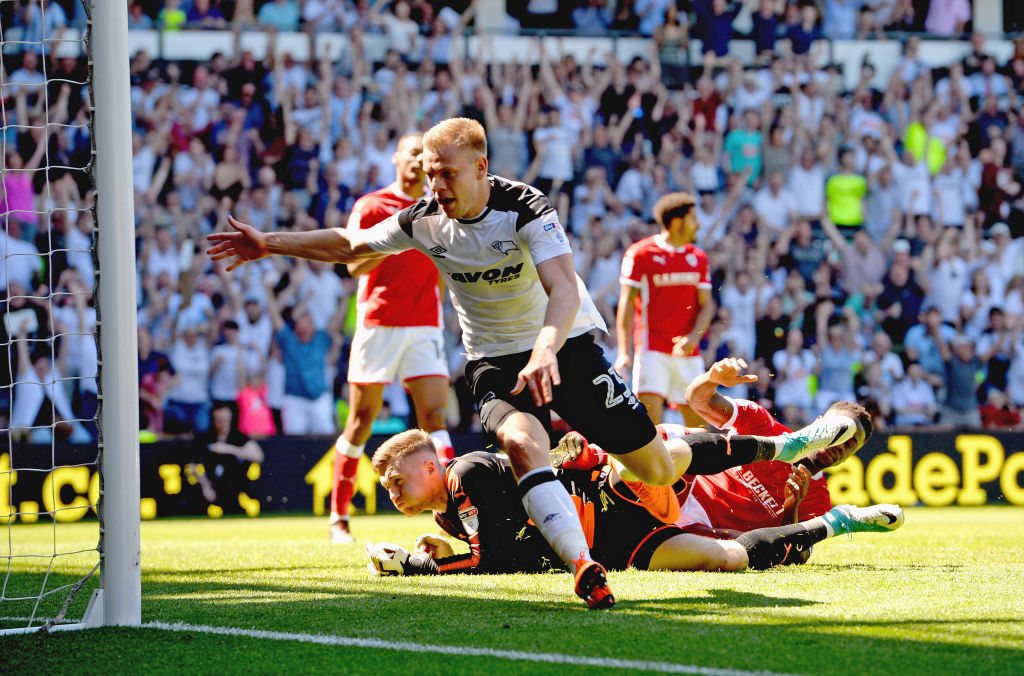 DERBY, ENGLAND - MAY 06: Matej Vydra of Derby County celebrates scoring their second goal during the Sky Bet Championship match between Derby County and Barnsley at iPro Stadium on May 6, 2018 in Derby, England. (Photo by Tony Marshall/Getty Images)