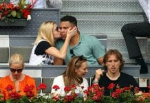 MADRID, SPAIN - MAY 09: Former professional footballer Ronaldo (back right) watches the Rafael Nadal v Gael Monfils second round match on day five of the Mutua Madrid Open at La Caja Magica on May 9, 2018 in Madrid, Spain. (Photo by Clive Brunskill/Getty Images)