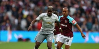during the Premier League match between West Ham United and Manchester United at London Stadium on May 10, 2018 in London, England.