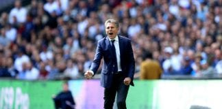 LONDON, ENGLAND - MAY 13: Claude Puel, Manager of Leicester City gives instruction to his team during the Premier League match between Tottenham Hotspur and Leicester City at Wembley Stadium on May 13, 2018 in London, England. (Photo by Warren Little/Getty Images)