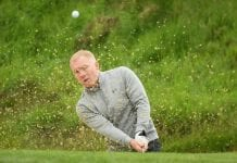 VIRGINIA WATER, ENGLAND - MAY 23: Paul Scholes hits from a bunker during the Pro Am for the BMW PGA Championship at Wentworth on May 23, 2018 in Virginia Water, England. (Photo by Ross Kinnaird/Getty Images)