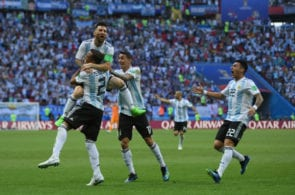KAZAN, RUSSIA - JUNE 30: Gabriel Mercado of Argentina celebrates after scoring his team's second goal with team mates Lionel Messi;Angel Di Maria and Cristian Pavon during the 2018 FIFA World Cup Russia Round of 16 match between France and Argentina at Kazan Arena on June 30, 2018 in Kazan, Russia. (Photo by Shaun Botterill/Getty Images)