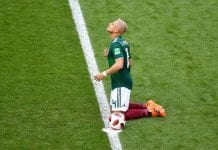 SAMARA, RUSSIA - JULY 02: Javier Hernandez of Mexico prays prior to the 2018 FIFA World Cup Russia Round of 16 match between Brazil and Mexico at Samara Arena on July 2, 2018 in Samara, Russia. (Photo by Hector Vivas/Getty Images)