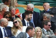 LONDON, ENGLAND - JULY 04: Spanish footballer Gerard Pique in the stands in Centre Court on day three of the Wimbledon Lawn Tennis Championships at All England Lawn Tennis and Croquet Club on July 4, 2018 in London, England. (Photo by Clive Mason/Getty Images)