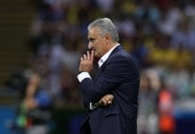 KAZAN, RUSSIA - JULY 06: Tite, Head coach of Brazil looks on during the 2018 FIFA World Cup Russia Quarter Final match between Brazil and Belgium at Kazan Arena on July 6, 2018 in Kazan, Russia. (Photo by Buda Mendes/Getty Images)