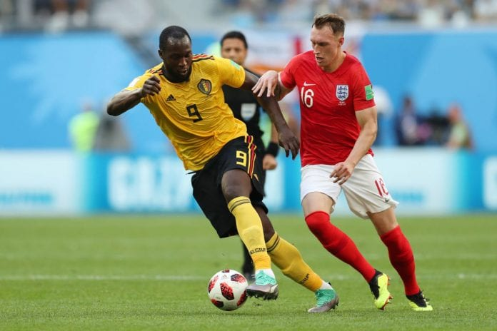 SAINT PETERSBURG, RUSSIA - JULY 14: Romelu Lukaku of Belgium is challenged by Phil Jones of England during the 2018 FIFA World Cup Russia 3rd Place Playoff match between Belgium and England at Saint Petersburg Stadium on July 14, 2018 in Saint Petersburg, Russia. (Photo by Catherine Ivill/Getty Images)