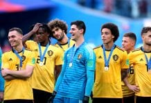 SAINT PETERSBURG, RUSSIA - JULY 14: Thomas Vermaelen, Dedryck Boyata, Marouane Fellaini, Thibaut Courtois and Axel Witsel of Belgium celebrate victory following the 2018 FIFA World Cup Russia 3rd Place Playoff match between Belgium and England at Saint Petersburg Stadium on July 14, 2018 in Saint Petersburg, Russia. (Photo by Clive Rose/Getty Images)
