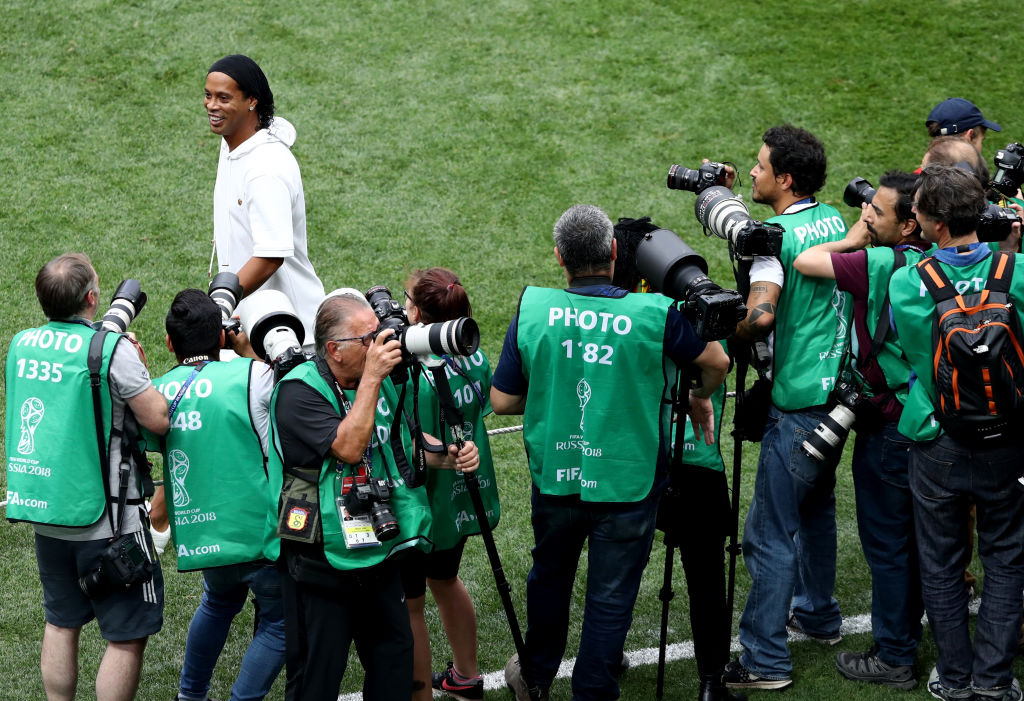 MOSCOW, RUSSIA - JULY 15: Ronaldinho walks on the pitch prior to the 2018 FIFA World Cup Final between France and Croatia at Luzhniki Stadium on July 15, 2018 in Moscow, Russia. (Photo by Ryan Pierse/Getty Images)