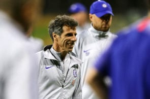 PERTH, AUSTRALIA - JULY 21: Gianfranco Zola, Assistant head coach of Chelsea during a Chelsea FC training session at The WACA on July 21, 2018 in Perth, Australia. (Photo by Will Russell/Getty Images)