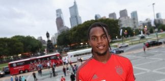 PHILADELPHIA, PA - JULY 24: Renato Sanches of FC Bayern Muenchen poses in front of the Philadelphia skyline at the Philadelphia Museum of Art on the second day of the FC Bayern AUDI Summer tour 2018 on July 24, 2018 in Philadelphia, Pennsylvania. (Photo by Alexandra Beier/Bongarts/Getty Images)