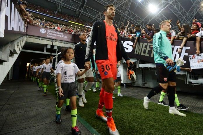 aae415c00 SINGAPORE - JULY 28  Gianluigi Buffon of Paris Saint Germain walks out of  the tunnel