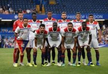 LONDON, ENGLAND - AUGUST 07: Players of Lyon pose for a team photo during the pre-season friendly match between Chelsea and Lyon at Stamford Bridge on August 7, 2018 in London, England. (Photo by Mike Hewitt/Getty Images)