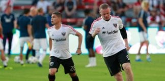 WASHINGTON, DC - JULY 14: Wayne Rooney #9 of D.C. United warms up before playing against the Vancouver Whitecaps during his MLS debut at Audi Field on July 14, 2018 in Washington, DC. (Photo by Patrick McDermott/Getty Images)