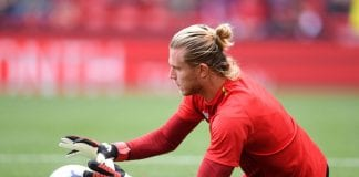 LIVERPOOL, ENGLAND - AUGUST 12: Loris Karius of Liverpool warms up prior to the Premier League match between Liverpool FC and West Ham United at Anfield on August 12, 2018 in Liverpool, United Kingdom. (Photo by Laurence Griffiths/Getty Images)