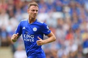 LEICESTER, ENGLAND - AUGUST 18: Jonny Evans of Leicester in action during the Premier League match between Leicester City and Wolverhampton Wanderers at The King Power Stadium on August 18, 2018 in Leicester, United Kingdom. (Photo by Michael Regan/Getty Images)