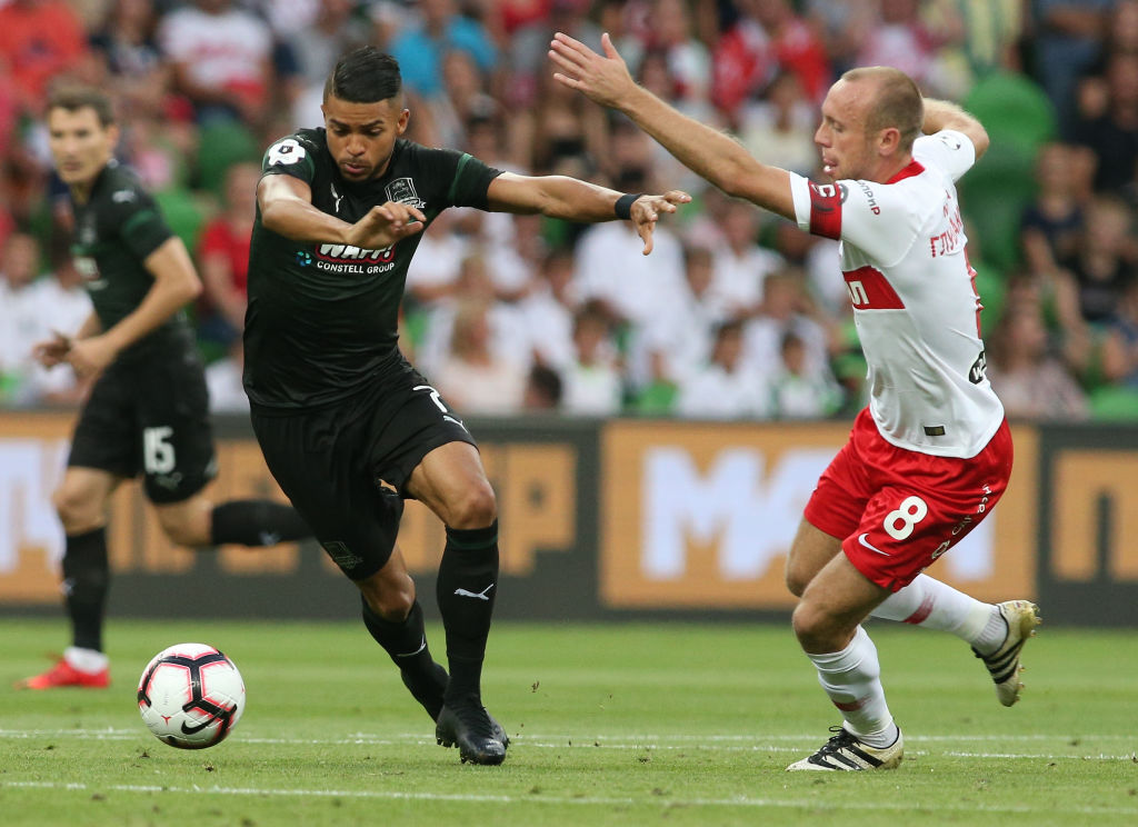 KRASNODAR, RUSSIA - AUGUST 18: Wanderson (L) of FC Krasnodar vies for the ball with Denis Glushakov of FC Spartak Moscow during the Russian Premier League match between FC Krasnodar v FC Spartak Moscow at Krasnodar Stadium on August 18, 2018 in Krasnodar, Russia. (Photo by Epsilon/Getty Images)