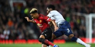 MANCHESTER, ENGLAND - AUGUST 27: Jesse Lingard of Manchester United is tackled by Danny Rose of Tottenham Hotspur during the Premier League match between Manchester United and Tottenham Hotspur at Old Trafford on August 27, 2018 in Manchester, United Kingdom. (Photo by Clive Mason/Getty Images)