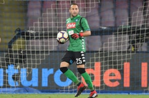 NAPLES, ITALY - AUGUST 25: David Ospina of SSC Napoli in action during the serie A match between SSC Napoli and AC Milan at Stadio San Paolo on August 25, 2018 in Naples, Italy. (Photo by Francesco Pecoraro/Getty Images)