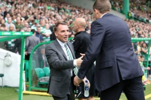 GLASGOW, SCOTLAND - SEPTEMBER 02: Brendan Rodgers, Manager of Celtic and Steven Gerrard, Manager of Rangers shake hands during the Scottish Premier League match between Celtic and Rangers at Celtic Park Stadium on September 2, 2018 in Glasgow, Scotland. (Photo by Ian MacNicol/Getty Images)