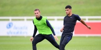 BURTON-UPON-TRENT, ENGLAND - SEPTEMBER 04: Dominic Solanke and Jordan Henderson in action during an England training session at St Georges Park on September 4, 2018 in Burton-upon-Trent, England. (Photo by Laurence Griffiths/Getty Images)