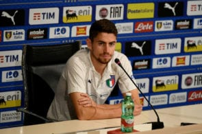 FLORENCE, ITALY - SEPTEMBER 05: Jorginho of Italy speaks with the media during a Italy press conference at Centro Tecnico Federale di Coverciano on September 5, 2018 in Florence, Italy. (Photo by Claudio Villa/Getty Images)