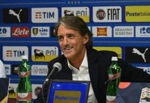 BOLOGNA, ITALY - SEPTEMBER 06: Head coach Italy Roberto Mancini speaks with the media during a press conference at Stadio Renato Dall'Ara on September 6, 2018 in Bologna, Italy. (Photo by Claudio Villa/Getty Images)