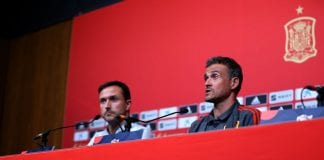 LONDON, ENGLAND - SEPTEMBER 07: Luis Enrique, Spain Manager speaks to the press during the Spain Press Conference Wembley Arena on September 7, 2018 in London, England. (Photo by Catherine Ivill/Getty Images)