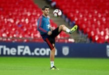 LONDON, ENGLAND - SEPTEMBER 07: Alvaro Morata of Spain trains during the Spain Training Session at Wembley Arena on September 7, 2018 in London, England. (Photo by Catherine Ivill/Getty Images)