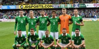 BELFAST, NORTHERN IRELAND - SEPTEMBER 08: The Northern Ireland starting XI pose for a team photograph before the UEFA Nations League B group three match between Northern Ireland and Bosnia-Herzegovina at Windsor Park on September 8, 2018 in Belfast, Northern Ireland. (Photo by Charles McQuillan/Getty Images)