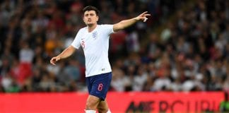 LONDON, ENGLAND - SEPTEMBER 08: Harry Maguire of England gestures during the UEFA Nations League A group four match between England and Spain at Wembley Stadium on September 8, 2018 in London, United Kingdom. (Photo by Michael Regan/Getty Images)