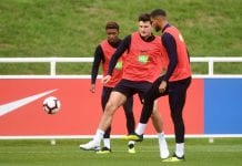 BURTON-UPON-TRENT, ENGLAND - SEPTEMBER 10: Demarai Gray, Harry Maguire and Ruben Loftus-Cheek of England take part in a training session at St Georges Park on September 10, 2018 in Burton-upon-Trent, England. (Photo by Michael Regan/Getty Images)