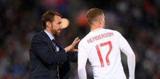 LEICESTER, ENGLAND - SEPTEMBER 11: Gareth Southgate, Manager of England gives instructions to Jordan Henderson of England during the international friendly match between England and Switzerland at The King Power Stadium on September 11, 2018 in Leicester, United Kingdom. (Photo by Laurence Griffiths/Getty Images)