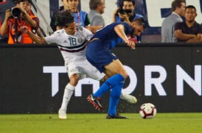 NASHVILLE, TN - SEPTEMBER 11: Matt Miazga #3 of the USA fights for the ball against Diego Lainez #18 of Mexico during the second half of a friendly match at Nissan Stadium on September 11, 2018 in Nashville, Tennessee. (Photo by Frederick Breedon/Getty Images)