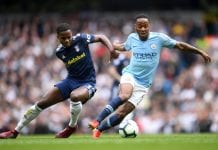 MANCHESTER, ENGLAND - SEPTEMBER 15: Ryan Sessegnon of Fulham and Raheem Sterling of Manchester City battle for the ball during the Premier League match between Manchester City and Fulham FC at Etihad Stadium on September 15, 2018 in Manchester, United Kingdom. (Photo by Laurence Griffiths/Getty Images)