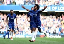 LONDON, ENGLAND - SEPTEMBER 15: Willian of Chelsea celebrates after scoring his team's fourth goal during the Premier League match between Chelsea FC and Cardiff City at Stamford Bridge on September 15, 2018 in London, United Kingdom. (Photo by Dan Istitene/Getty Images)