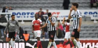 NEWCASTLE UPON TYNE, ENGLAND - SEPTEMBER 15: Newcastle player Isaac Hayden (c) reacts after the Premier League match between Newcastle United and Arsenal FC at St. James Park on September 15, 2018 in Newcastle upon Tyne, United Kingdom. (Photo by Stu Forster/Getty Images)