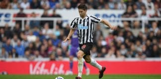 NEWCASTLE UPON TYNE, ENGLAND - SEPTEMBER 15: Newcastle player Federico Fernandez in action during the Premier League match between Newcastle United and Arsenal FC at St. James Park on September 15, 2018 in Newcastle upon Tyne, United Kingdom. (Photo by Stu Forster/Getty Images)