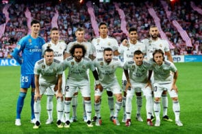 BILBAO, SPAIN - SEPTEMBER 15: Real Madrid line up for a team photo prior to the La Liga match between Athletic Club Bilbao and Real Madrid at San Mames Stadium on September 15, 2018 in Bilbao, Spain. (Photo by Juan Manuel Serrano Arce/Getty Images)