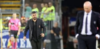 CAGLIARI, ITALY - SEPTEMBER 16: Milan's coach Gennaro Gattuso reacts during the serie A match between Cagliari and AC Milan at Sardegna Arena on September 16, 2018 in Cagliari, Italy. (Photo by Enrico Locci/Getty Images)