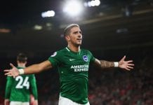 SOUTHAMPTON, ENGLAND - SEPTEMBER 17: Anthony Knockaert of Brighton and Hove Albion celebrates as Glenn Murray of Brighton and Hove Albion scores his team's second goal from a penalty during the Premier League match between Southampton and Brighton & Hove Albion at St Mary's Stadium on September 17, 2018 in Southampton, United Kingdom. (Photo by Clive Rose/Getty Images)